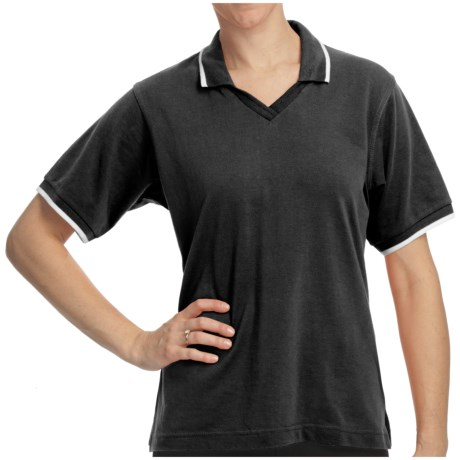 Cotton Pique Tipped Polo Shirt - Short Sleeve (For Women) in Black/White