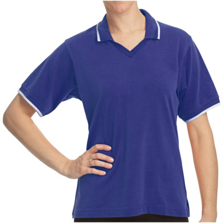 Cotton Pique Tipped Polo Shirt - Short Sleeve (For Women) in Blue/White