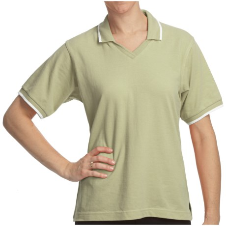 Cotton Pique Tipped Polo Shirt - Short Sleeve (For Women) in Green/White