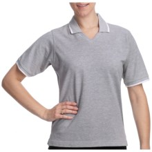 Cotton Pique Tipped Polo Shirt - Short Sleeve (For Women) in Grey/White - 2nds