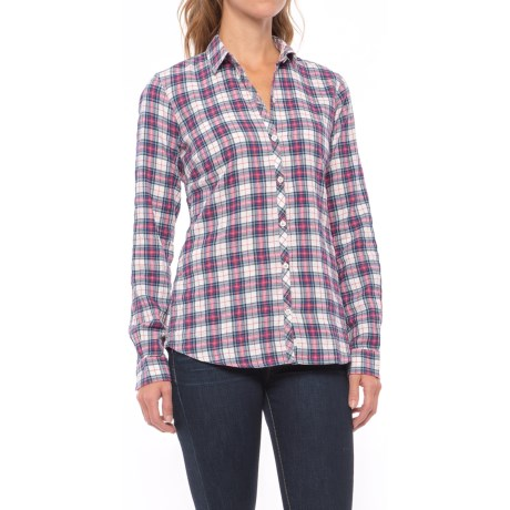 Cotton Plaid Shirt - Long Sleeve (For Women) in Ivory