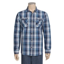 Cotton Plaid Sport Shirt - Long Roll-Up Sleeve (For Men) in Navy/Pink - Closeouts