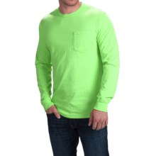 Cotton Pocket T-Shirt - Long Sleeve (For Men) in Fluorescent Green - 2nds