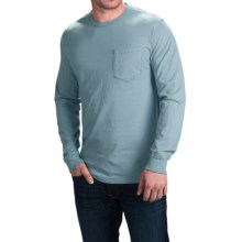 Cotton Pocket T-Shirt - Long Sleeve (For Men) in Medium Blue - 2nds