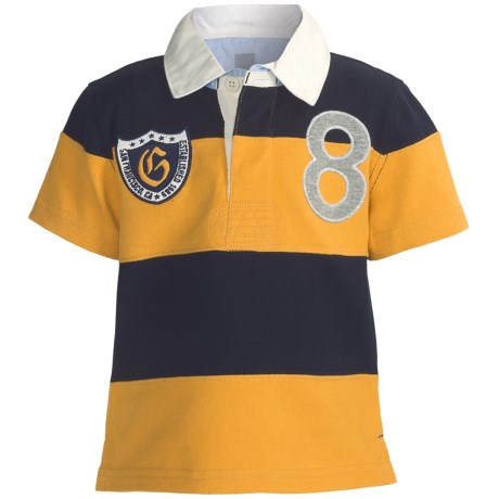 Cotton Polo Shirt - Short Sleeve (For Boys) in Navy/Gold