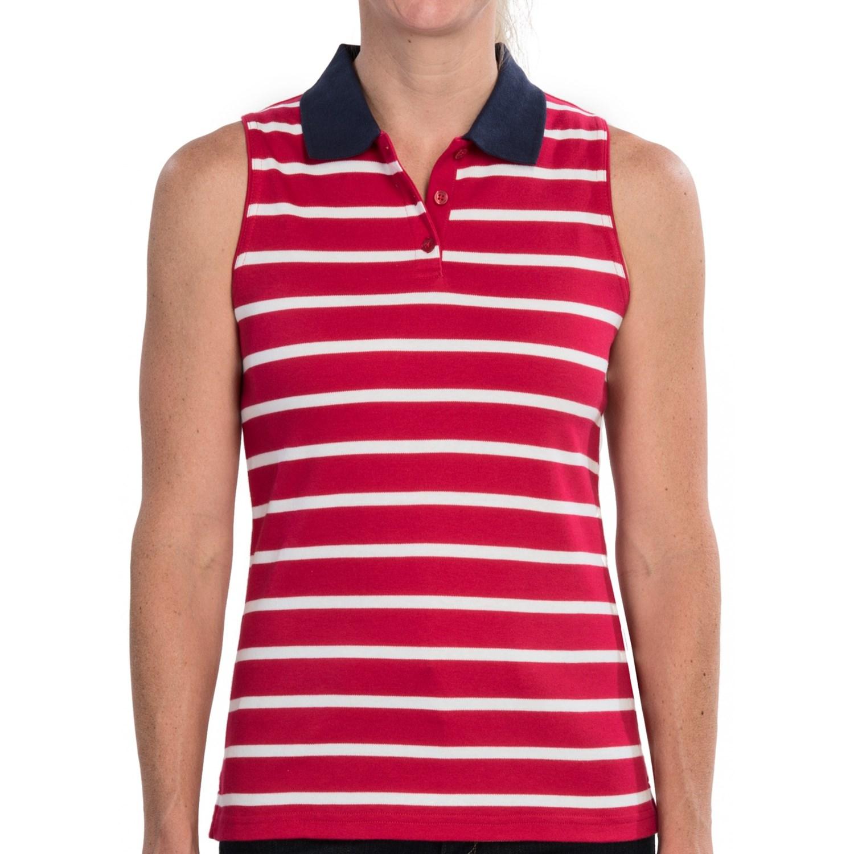 Ladies Sleeveless Cotton Polo Shirts Lauren Goss