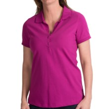 Cotton-Polyester Pique Polo Shirt - Short Sleeve (For Women) in Plum - Closeouts