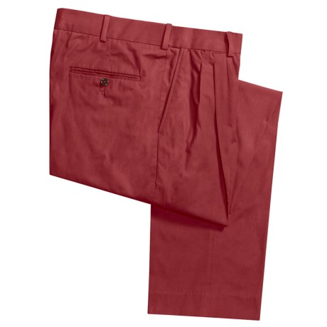 Cotton Poplin Pants - Pleats (For Men) in Pomegranate