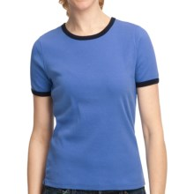 Cotton Ringer T-Shirt - Short Sleeve (For Women) in Blue - 2nds