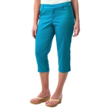 Cotton Sateen Capris (For Women) in Dark Turquoise - 2nds