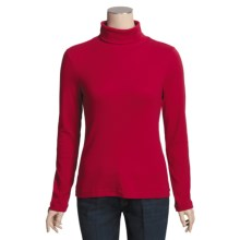 Cotton Shaped-Fit Turtleneck - Long Sleeve (For Women) in Red - 2nds