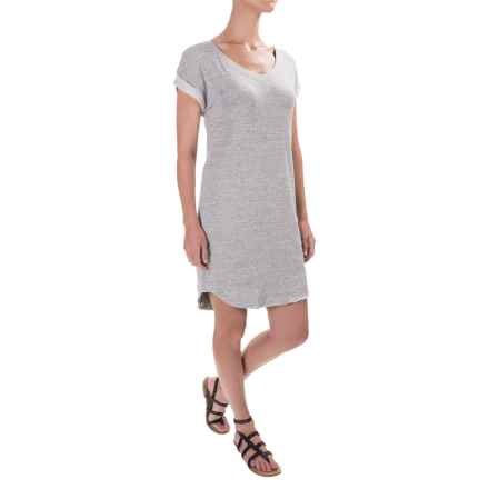 Cotton Shift Dress - Short Sleeve (For Women) in Grey - 2nds