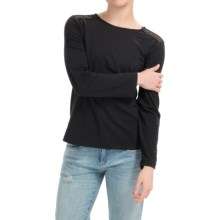 Cotton Shirt with Crocheted Shoulders - Long Sleeve (For Women) in Black - 2nds