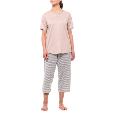 Image of Cotton Single Jersey Stripe Crop Pajamas - Short Sleeve (For Women)