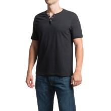 Cotton Snap V-Neck Henley Shirt - Short Sleeve (For Men) in Black - 2nds