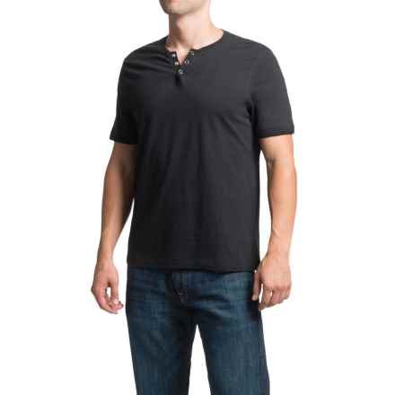 Cotton Snap V-Neck Henley Shirt - Short Sleeve (For Men) in Black - 2nds