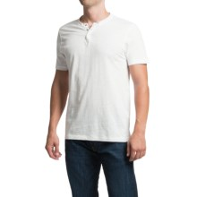 Cotton Snap V-Neck Henley Shirt - Short Sleeve (For Men) in White - 2nds