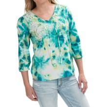 Cotton Splash Shirt - 3/4 Sleeve (For Women) in Green Splash - 2nds