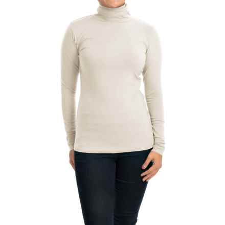 Cotton Turtleneck - Long Sleeve (For Women) in White - 2nds