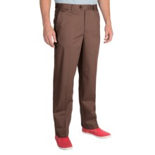 Cotton Twill Pants - Flat Front (For Men) in Brown - Closeouts