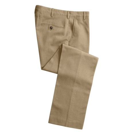 Cotton Twill Pants - Flat Front (For Men) in Stone