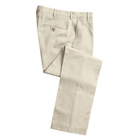 Cotton Twill Pants - Flat Front (For Men) in Natural