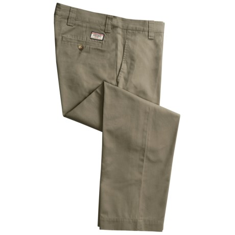 Cotton Twill Pants - Flat Front (For Men) in Olive