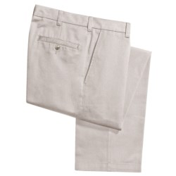 Cotton Twill Pants - Flat Front (For Men) in Sand