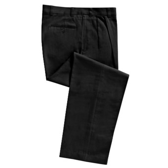 Cotton Twill Pants - Pleated Front (For Men) in Black