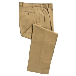 Cotton Twill Pants - Pleated Front (For Men) in Navy