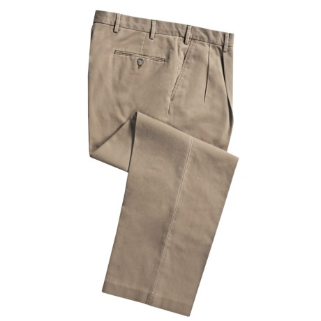 Cotton Twill Pants - Pleated Front (For Men) in Khaki
