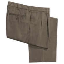 Cotton Twill Pants - Pleated Front (For Men) in Light Olive - 2nds
