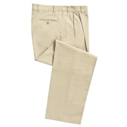 Cotton Twill Pants - Pleated Front (For Men) in Natural