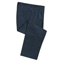 Cotton Twill Pants - Pleated Front (For Men) in Navy - 2nds