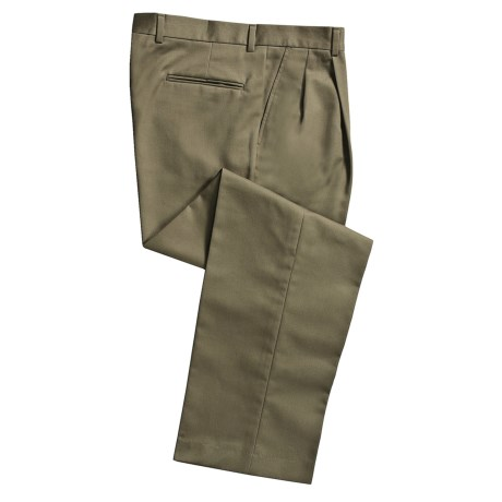 Cotton Twill Pants - Pleated Front (For Men) in Olive