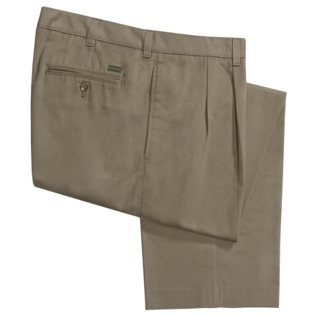 Cotton Twill Pants - Pleated Front (For Men) in Sage