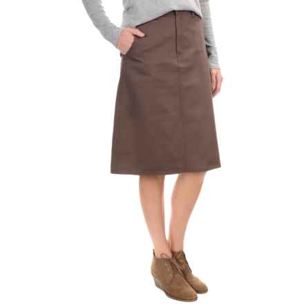 Cotton Twill Skirt - Flat Front (For Women) in Brown - 2nds