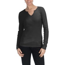 Cotton U-Neck Shirt - Long Sleeve (For Women) in Black - 2nds