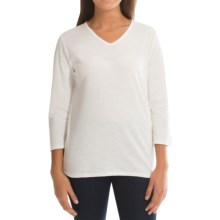 Cotton V-Neck Shirt - Long Sleeve (For Women) in Cream - 2nds