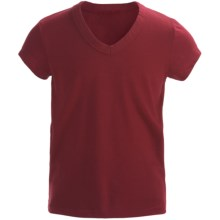 Cotton V-Neck T-Shirt - Short Sleeve (For Girls) in Red - 2nds