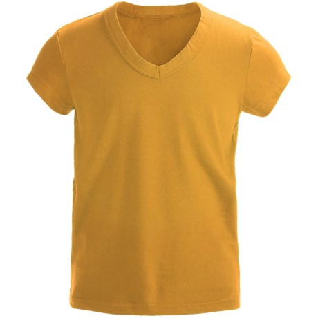 Cotton V-Neck T-Shirt - Short Sleeve (For Girls) in Yellow