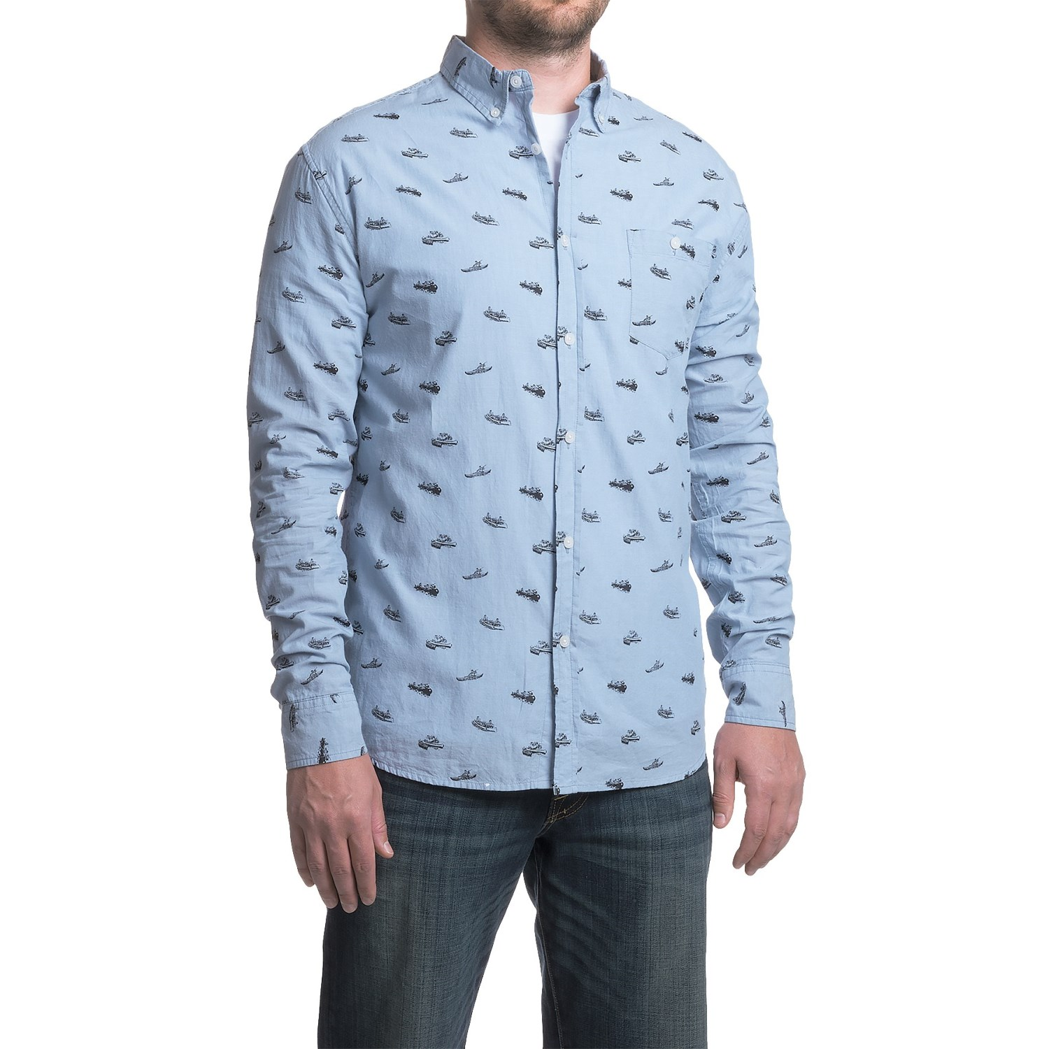 Counter intelligence chambray pattern shirt for men for Long sleeve shirt pattern