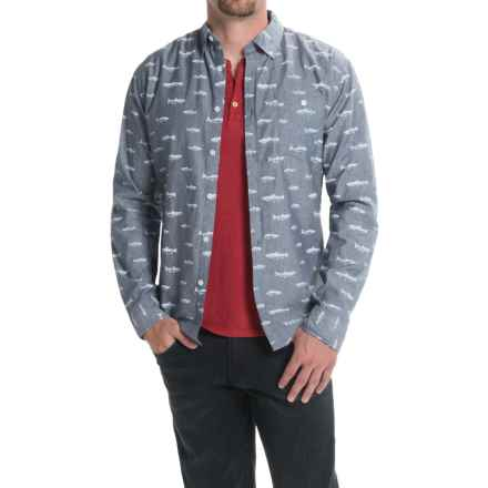 Counter Intelligence Chambray Pattern Shirt - Long Sleeve (For Men) in Navy W/White Fish - Closeouts