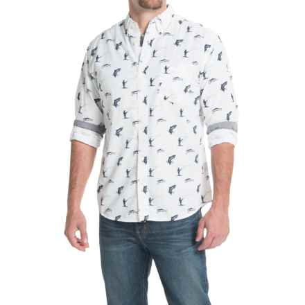 Counter Intelligence Chambray Pattern Shirt - Long Sleeve (For Men) in Off White W/Navy Print - Closeouts