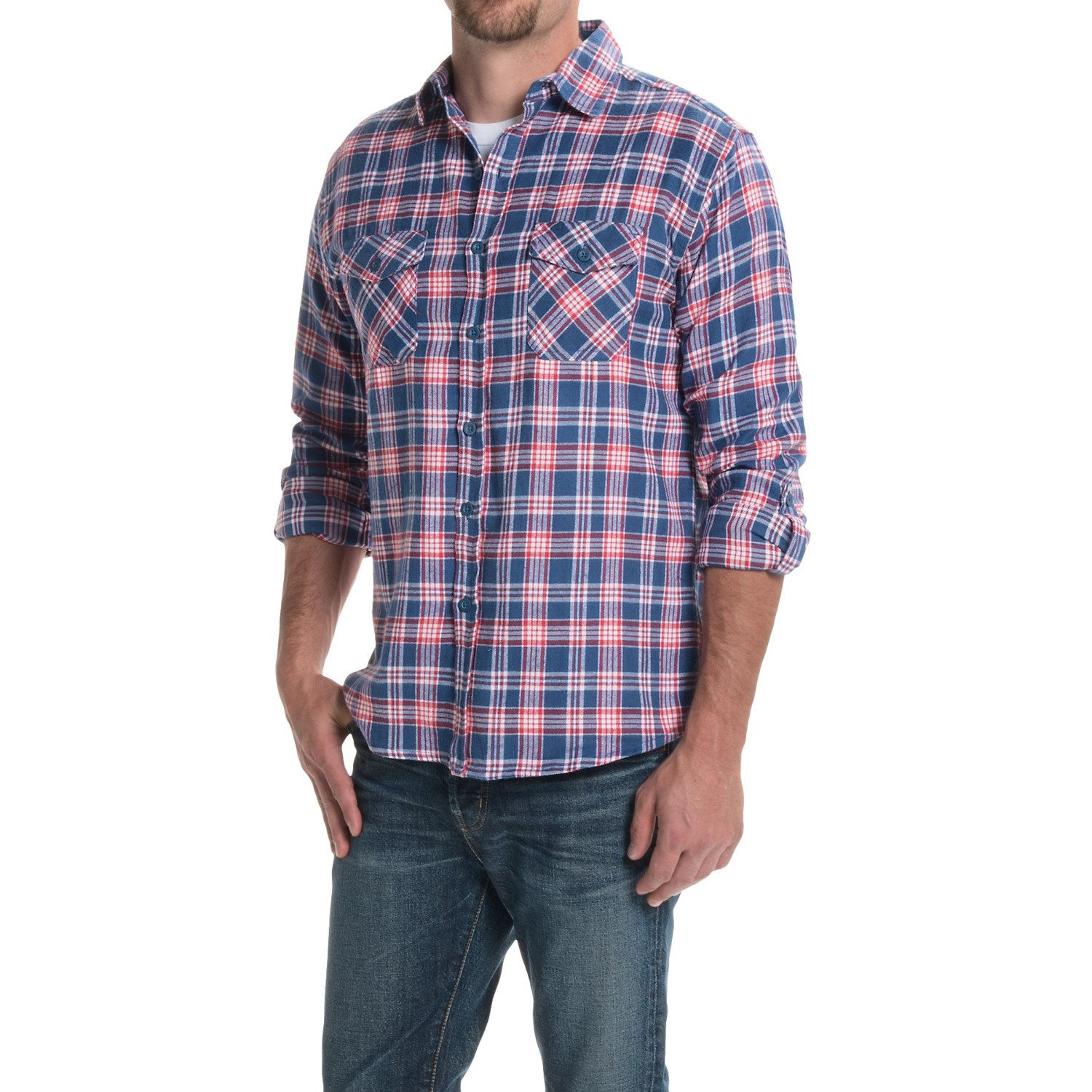 Counter intelligence plaid flannel shirt for men save 77 for Flannel checked long sleeve shirt