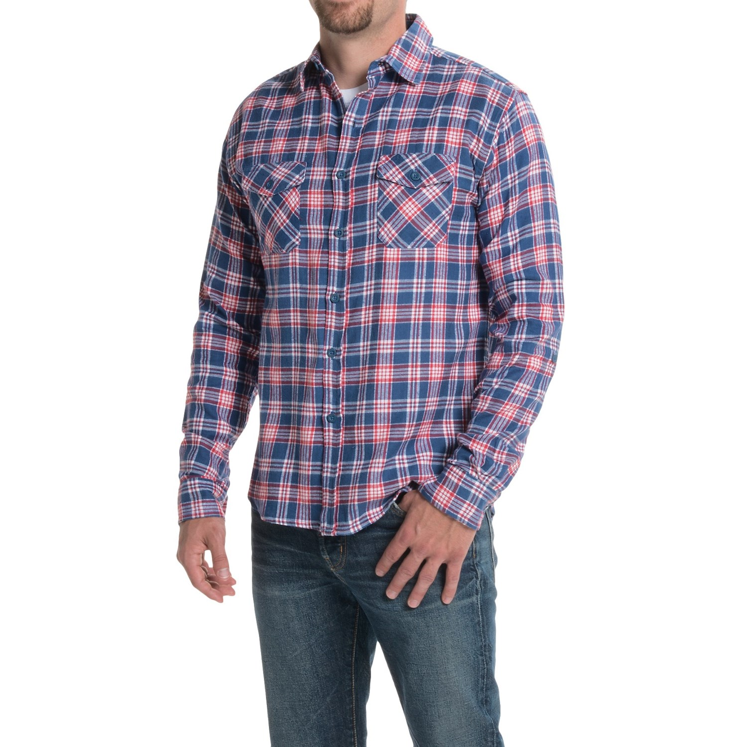 Counter intelligence plaid flannel shirt for men save 77 for Long plaid flannel shirt