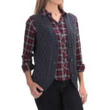 Country Cotton Tilson Cable-Knit Vest - Button Front (For Women) in Blue Tweed - Overstock