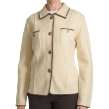 Country Fashion by Venario Carol Jacket - Boiled Wool (For Women) in Cream/Brown - Closeouts