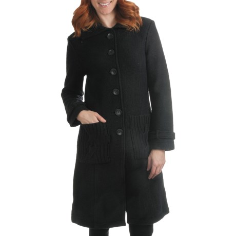 Country Fashion by Venario Celia Coat - Boiled Wool (For Women) in Black