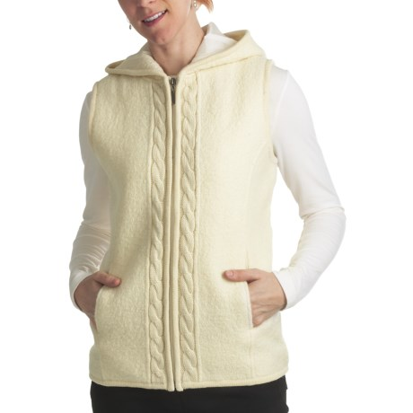 Country Fashion by Venario Hooded Vest - Boiled Wool, Full Zip (For Women) in Cream